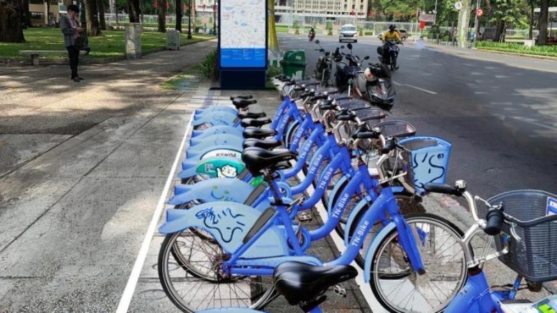 Mô phỏng trạm triển khai xe đạp công cộng cho thuê tại công viên 30/4, số 17 Lê Duẩn, Q. 1. Ảnh: baogiaothong
