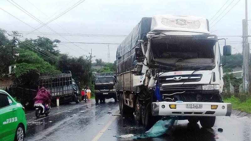 Hiện trường vụ tai nạn giao thông tại Quốc lộ 14 (đoạn qua thôn 1 xã Đăk La, huyện Đăk Hà, tỉnh Kon Tum) vào tháng 8/2020.
