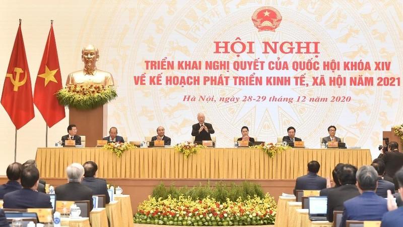 Hội nghị Chính phủ và địa phương tại điểm cầu Văn phòng Chính phủ. Ảnh: TTXVN