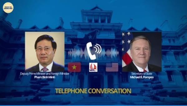Phó Thủ tướng Phạm Bình Minh điện đàm với Ngoại trưởng Hoa Kỳ: Giải quyết một cách toàn diện các quan tâm của hai nước