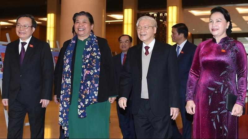 Tổng Bí thư, Chủ tịch nước Nguyễn Phú Trọng dự gặp mặt kỷ niệm 75 năm ngày Tổng tuyển cử đầu tiên. Ảnh: VGP/Quang Hiếu
