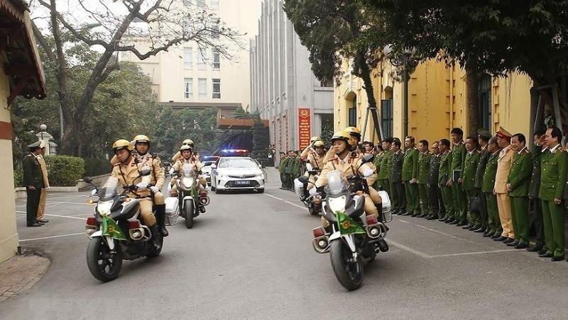 Các lực lượng ra quân thực hiện phương án bảo đảm an ninh, trật tự Đại hội đại biểu toàn quốc lần thứ XIII của Đảng. Ảnh: Doãn Tấn/TTXVN