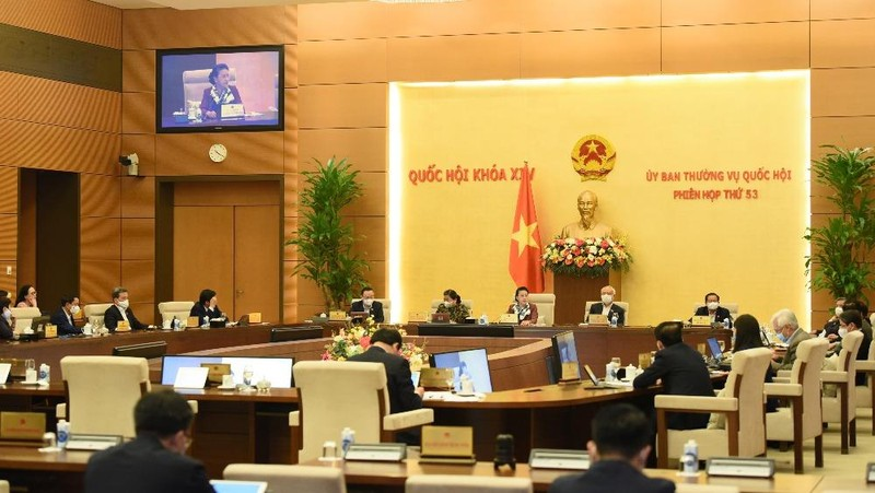 Chủ tịch Quốc hội Nguyễn Thị KIm Ngân cho ý kiến tại Phiên họp toàn thể Ủy ban Thường vụ Quốc hội, sáng 23/2. Ảnh: VGP