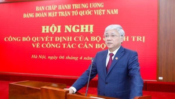 Bí thư Trung ương Đảng, Bí thư Đảng đoàn MTTQ Việt Nam Đỗ Văn Chiến phát biểu tại Hội nghị.