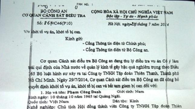 Khởi tố, bắt tạm giam 3 lãnh đạo cấp cao Tập đoàn Thiên Thanh