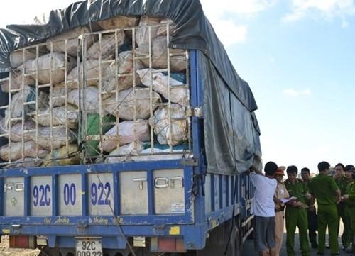 Xe tải chở gần 10 tấn xương động vật hôi thối bị nhà chức trách bắt giữ.