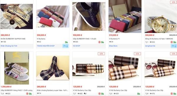 Hàng loạt sản phẩm giả nhãn hiệu Burberry bán trên trang Sendo - Ảnh chụp màn hình