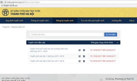 Hà Nội: Cổng điện tử tuyển sinh trực tuyến đầu cấp đã được mở
