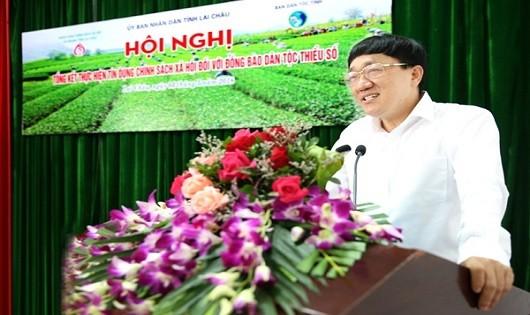 Ông Dương Quyết Thắng -Tổng Giám đốc Ngân hàng Chính sách xã hội - phát biểu tại Hội nghị