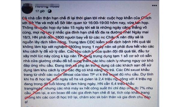 Tung tin 'Hà Nội sắp vỡ trận vì dịch COVID-19', 2 người bị xử lý