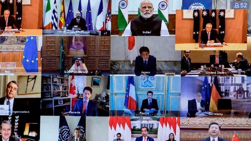 Toàn cảnh hội nghị trực tuyến Nhóm các nền kinh tế phát triển và mới nổi hàng đầu thế giới (G20) về dịch bệnh viêm đường hô hấp cấp COVID-19. Ảnh: AFP