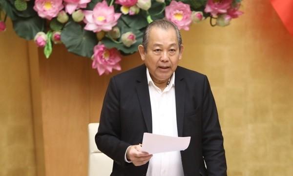 Phó Thủ tướng Thường trực Chính phủ Trương Hoà Bình khi chủ trì cuộc họp. Ảnh: VGP.