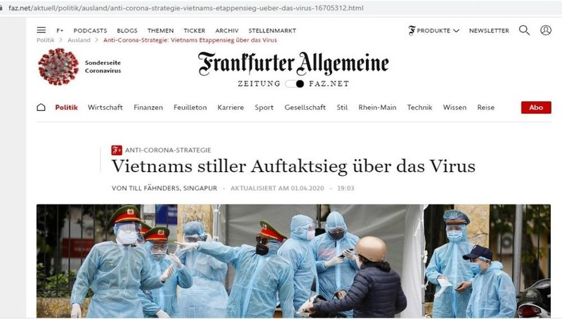 Bài báo ca ngợi chiến lược chống Covid-19 của Việt Nam trên tờ Toàn cảnh Frankfurt (Đức).