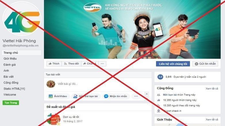 Gỡ bỏ 186 trang mạo danh Viettel trên Facebook