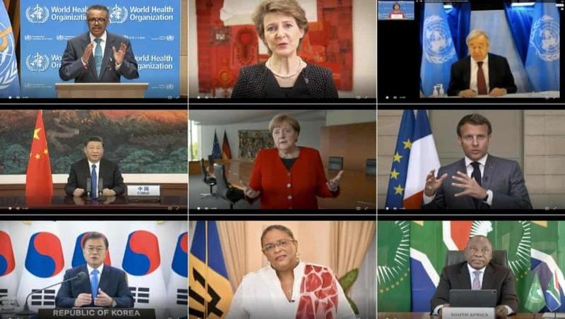 Tổng giám đốc WHO Tedros Adhanom và các nhà lãnh đạo thế giới họp trực tuyến tới Hội đồng Y tế Thế giới. Ảnh: WHO/AFP