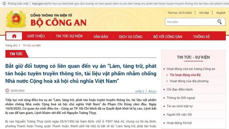 Bắt giữ đối tượng Nguyễn Tường Thụy