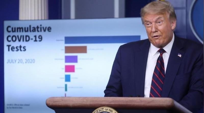 Tổng thống Mỹ Donald Trump tại cuộc họp báo về COVID-19 ở Nhà Trắng ngày 21/7. Ảnh: Reuters.