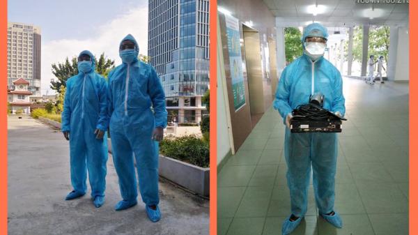 Các nhân viên kỹ thuật của Viettel triển khai lắp đặt hệ thống ở Bệnh viện dã chiến đặt trong Cung thể thao Tiên Sơn (Đà Nẵng).