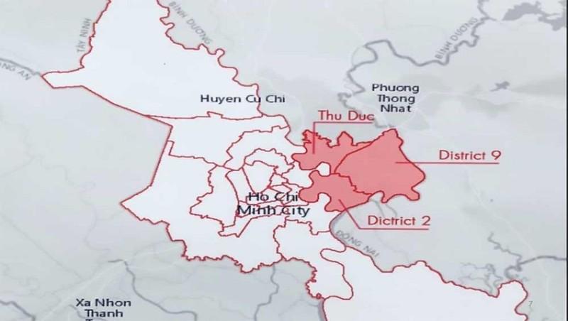Bản đồ khu đô thị phía Đông TP.HCM sẽ được xây dựng trở thành TP mới gồm 3 quận (Nguồn Sở Quy hoạch TP.HCM)