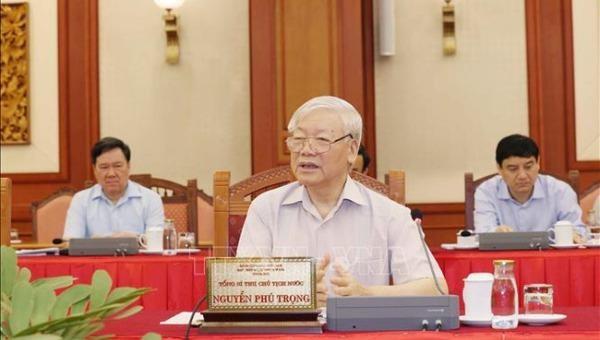 Tổng Bí thư, Chủ tịch nước Nguyễn Phú Trọng chủ trì buổi làm việc của tập thể Bộ Chính trị với Ban Thường vụ Đảng ủy Công an Trung ương. (Ảnh: TTXVN)