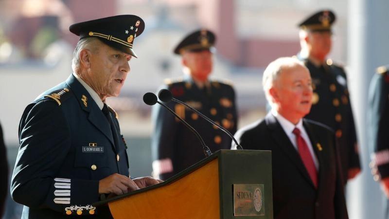 Tướng Salvador Cienfuegos Zepeda phát biểu tại một sự kiện ở Mexico City năm 2014. Ảnh: Reuters