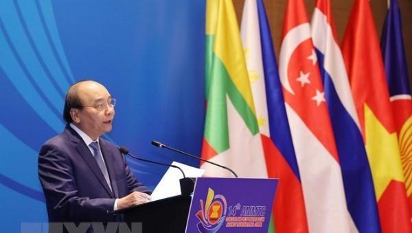 Thủ tướng Chính phủ Nguyễn Xuân Phúc dự và phát biểu chào mừng Hội nghị Bộ trưởng ASEAN về phòng, chống tội phạm xuyên quốc gia lần thứ 14. (Ảnh: TTTXVN)