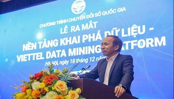 Ông Nguyễn Trọng Đường, Phó Cục trưởng Cục Tin học hóa (Bộ TTTT), phát biểu tại Lễ ra mắt nền tảng Viettel Data Mining Platform.