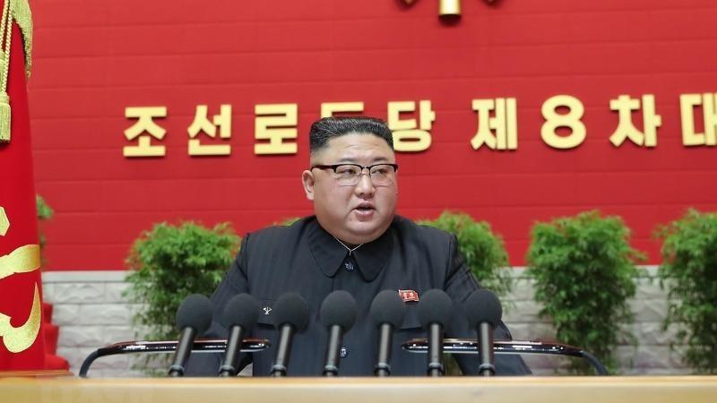 Nhà lãnh đạo Kim Jong-un tại Đại hội đại biểu toàn quốc Đảng Lao động Triều Tiên khóa VIII, ngày 5/1/2021. (Ảnh: KCNA/TTXVN)