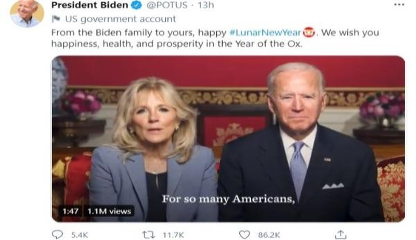 Tổng thống Joe Biden chúc Tết nguyên đán Tân Sửu