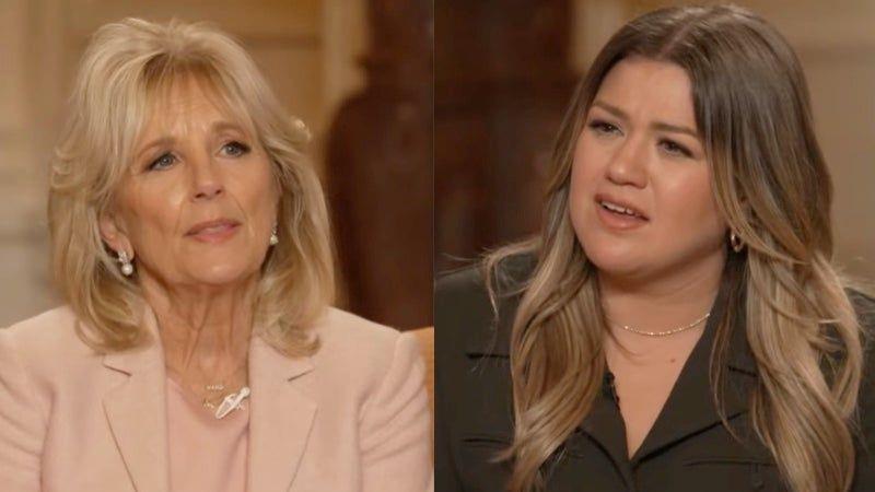 Bà Jill Biden chia sẻ với người dẫn chương trình Kelly Clarkson. Ảnh:  AFP