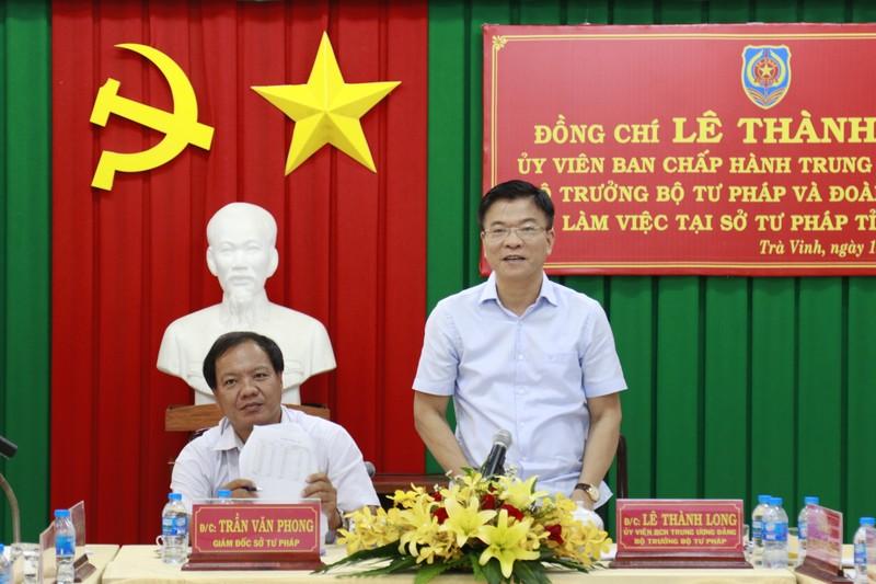 Bộ trưởng Lê Thành Long:  Tư pháp Trà Vinh cần quyết liệt giải quyết vấn đề Quốc tịch, Hộ tịch