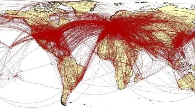 Các đường màu đỏ cắt ngang tạo nên một bức tranh kinh hoàng về sự lây lan không thể ngăn chặn của virus. Ảnh: WorldPopProject.