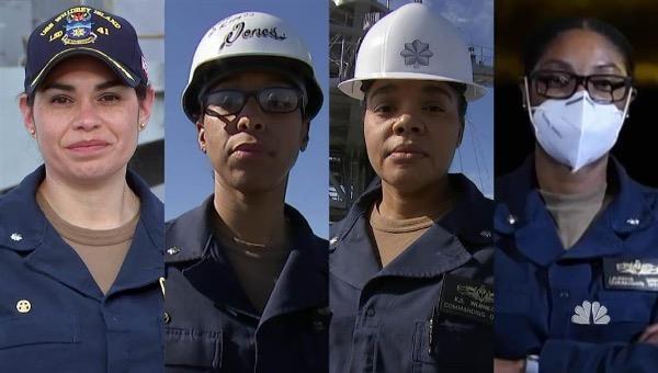 Bốn nữ chỉ huy chiến hạm này đều là người da màu. Ảnh: NBC News.