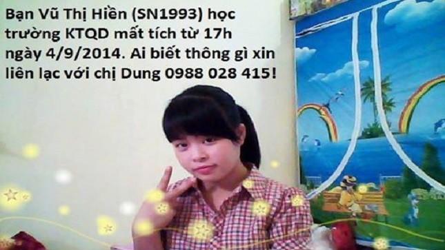 Nữ sinh Vũ Thị Hiền.