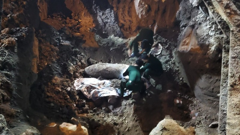Quả bom được phát hiện trong quá trình thi công móng của công trình trụ sở Công ty truyền tải điện 1.