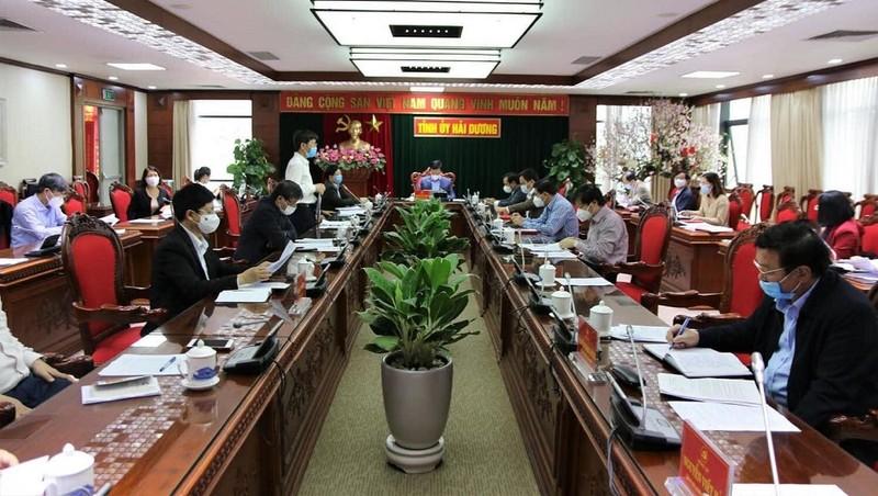 Cuộc họp sáng 22/2 của Ban Thường vụ Tỉnh ủy Hải Dương.