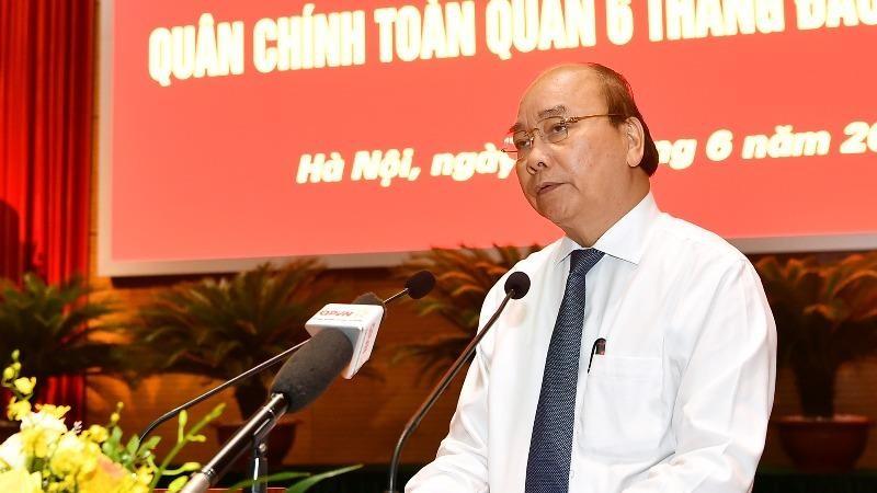 Thủ tướng Nguyễn Xuân Phúc phát biểu tại Hội nghị Quân chính toàn quân 6 tháng đầu năm 2020.
