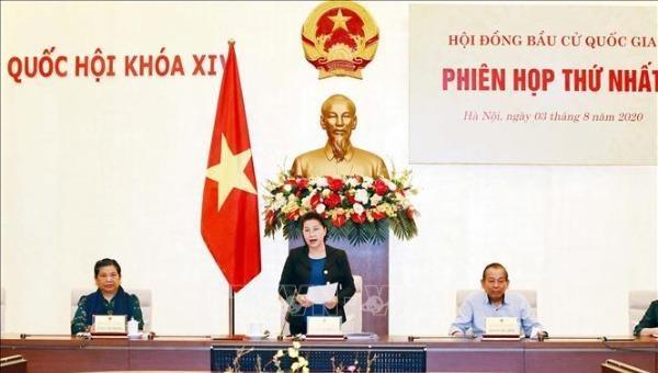 Chủ tịch Quốc hội Nguyễn Thị Kim Ngân chủ trì phiên họp thứ nhất Hội đồng bầu cử quốc gia.