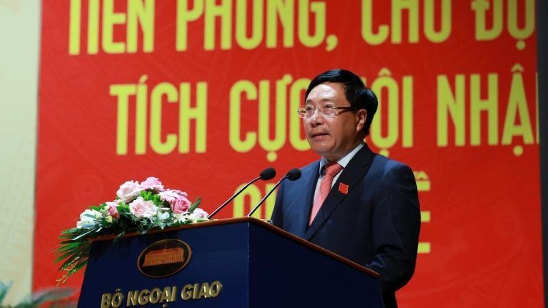 Phó Thủ tướng, Bộ trưởng Bộ Ngoại giao Phạm Bình Minh phát biểu chỉ đạo Đại hội