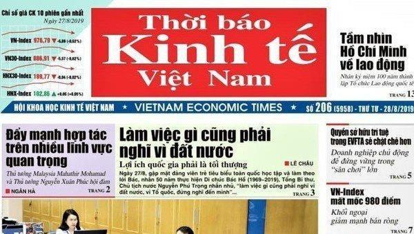 Thời báo Kinh tế Việt Nam phải được chuyển đổi thành Tạp chí Kinh tế Việt Nam