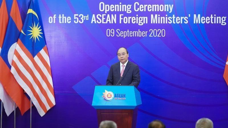 Thủ tướng Nguyễn Xuân Phúc phát biểu khai mạc Hội nghị Bộ trưởng Ngoại giao ASEAN.