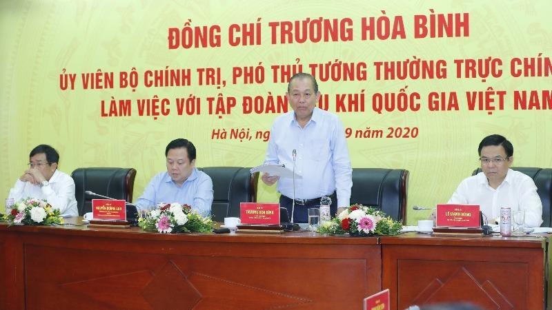Phó Thủ tướng Thường trực Trương Hòa Bình phát biểu tại buổi làm việc với PVN (Ảnh: Lê Sơn)