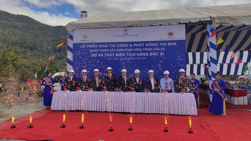 Thi công cửa xả của Nhà máy thủy điện tích năng đầu tiên ở Việt Nam