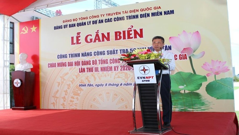 Bí thư Đảng ủy EVNNPT Đặng Phan Tường phát biểu tại Lễ gắn biển.