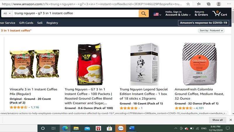 Một số thương hiệu cafe Việt Nam bán trên Amazon.