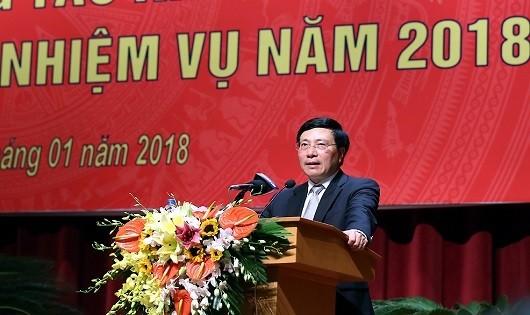 Phó Thủ tướng, Bộ trưởng Ngoại giao Phạm Bình Minh phát biểu tại Hội nghị. Ảnh: VGP