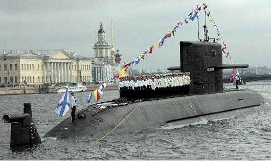 Hình ảnh tại buổi hạ thủy tàu ngầm của Nga.