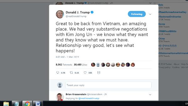 Bài viết của ông Trump.