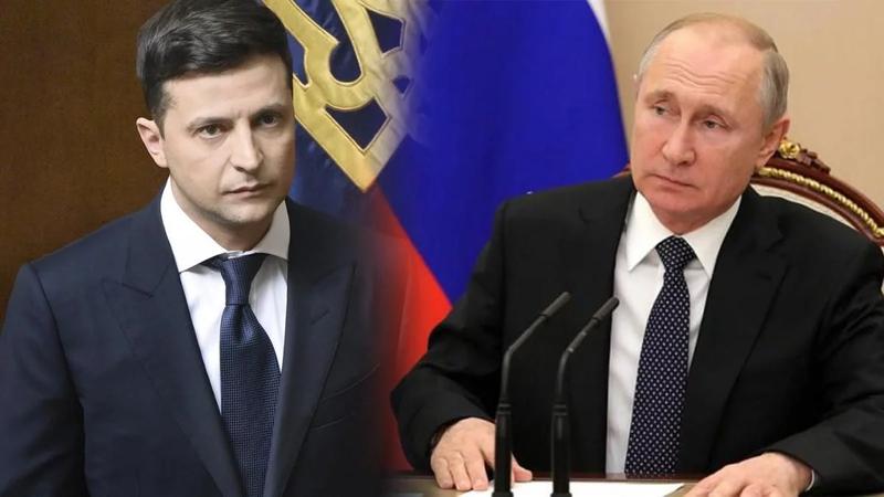 Tổng thống Ukraine và Tổng thống Nga Putin.