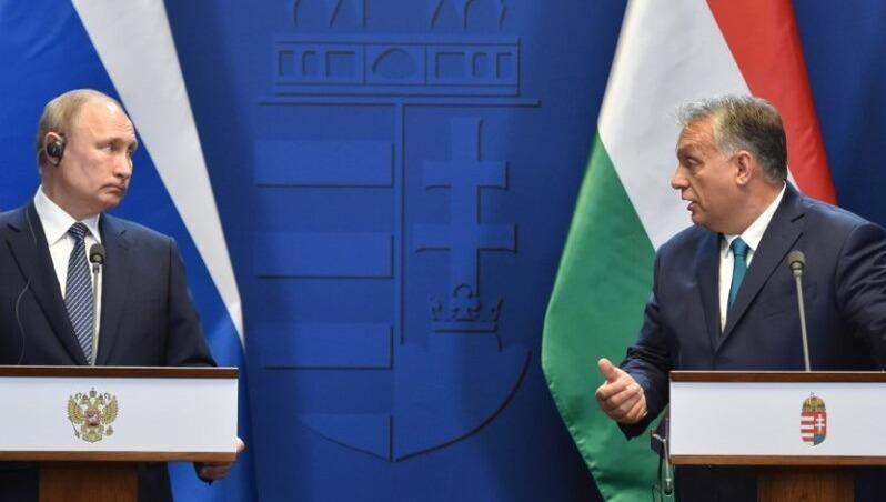 Tổng thống Nga Putin và Thủ tướng Hungary Orban tại họp báo.